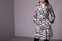 Wholesale Luxury original brand Classic Fashion long Trench Coat zebra grain with resin buttons water proof cloth Slim Belted Trench for Women with du