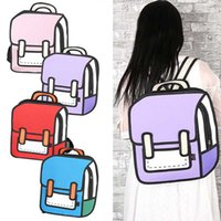 Wholesale Three 3d Cartoon Women - Wholesale- Women Funny Bag Cartoon Package 3D Three-dimensional Bag 2D Backpack New Fashion Popular
