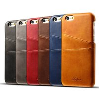 Wholesale Iphone Leather Faux - Leather Card Case Ultra Slim Faux Leather Credit Card ID Holder Slots Shockproof Protective Cover for iPhone 6 6s 7 Plus With Opp Bag