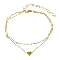 Wholesale Gold Heart Anklets - New Coming Gold Plated Double Layers Thin Chain Anklet with Heart Design Charms for Women