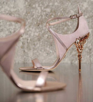 Wholesale Wholesale Shoe Lace Charms - 2017 pink blue white yellow Eden sandals bridal wedding shoes with white leather & silver python with silver leaves shoes for evening prom