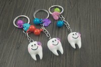 Wholesale Tooth Dentist Key Chains - Boo 100pcs Free Shipping Cartoon Teeth Keychain Dentist Decoration Key Chain Ring Holder Tooth Model Shape Dental Clinic