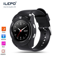 Wholesale Cell Phone Russian Language - Cell phone smart V8 GSM watch with bluetooth international language support Big screen long battery life smartwatch for android ios