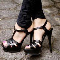 Wholesale White Canvas Pumps Women - T-strap High Heels Sandalias Mujer Shoes Woman New Tribute Genuine Leather Leather Platform Sandals Dress Pumps 2017