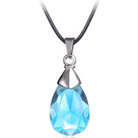 Wholesale Sword Anime Cosplay - MJ Jewelry Anime Sword Art Online Metal Necklace Yui's Heart Blue Crystal Pendant Cosplay Jewelry Accessories