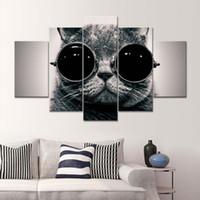 marcos negros para pinturas al óleo al por mayor-Venta al por mayor 5 paneles de pinturas de arte de la pared lienzo pinturas al óleo del gato hermoso negro para el sofá de fondo decoración sin marco