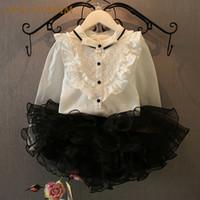 Wholesale Girls Frill Shirt - Wholesale- 2017 New Summer Autumn New Girls Clothing Sets Mandarin Collar Lace Frill Long-sleeved Shirt + Tutu Skirts Kids Clothes