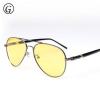 óculos de sol polarizados amarelos antiofuscantes venda por atacado-Atacado- 2016 Brand Designer 62 milímetros Piloto Night Driving Glasses Polarizada Anti Glare Vision Sunglasses Quadro Alloy Lens Amarelo
