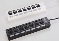 hub usb iluminado al por mayor-Luz LED 7 Puertos 7 Puertos Cargador Hi-Speed USB 2.0 de Alta Velocidad Hub Adaptador de CA Adaptador de Tap con On On Off Button