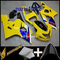 satış sonrası motosiklet plastikleri toptan satış-23 renkler + Hediyeler için Aftermarket Plastik Kaporta Suzuki GSXR600750 04 05 GSX-R600 2004 2005 sarı Motosiklet Gövde Kiti