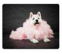 Wholesale Pink Gaming Mouse - Mousepads White Westhighland westie terrier with pink boa isolated on black background 20219265 Customized Art Desktop Laptop Gaming mouse P