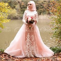 Wholesale Hijab Wedding Dresses Plus Size - Blush Pink Muslim Wedding Dress with Detachable Train Appliques Lace Long Sleeves Bridal Gowns with Hijab 2017 Vestidos de Novia