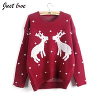 Wholesale Cute Womens Sweaters - Wholesale-2016 New Autumn Winter Cute O-neck Christmas Reindeer Sweater Pullover Female Deer Long-sleeve Knitwear Tops Sweaters Womens