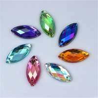 Wholesale Crystal Stones For Dresses - 300pcs Crystal Clear AB Rhinestones Sew On Acrylic Flatback Fancy Shape Horse Eye Gems Strass Stones For Clothes Dress Crafts