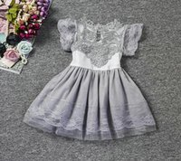 Gril's Dress Princess Lace Short Sleeve Verão New Arrival Roupa infantil Moda Flower Gril Vestidos Kids Wear Party Evening Wholesale