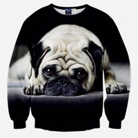 Wholesale Dog Wears - Wholesale-New Arrive 3D Animal Fashion Sweatshirt Men's Dog Pug 3D Printed Hoodies Men Women Street Wear Harajuku Sweatshirt Black