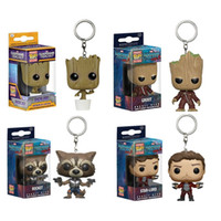 Wholesale Galaxy Wonder - Funko Pop Super Heroes Action Figure Toys Keychain Pendant Baby Groot,Guardians of the Galaxy Wonder woman PVC dolls Keyring With Gift Box