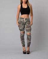 Wholesale Women Camo Pants Skinny - Wholesale- 2016 fashion camo denim skinny jeans woman camouflage jeans slim plus size hole pant femme pantalones vaqueros 611