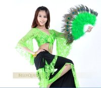 Wholesale Peacock Dance Dress - 20Pcs Elegant Peacock feather Hand Fan Dance Fancy Props Dress Wedding Costume Dance Folding Fan Halloween Phantom Party Supplies 13 color