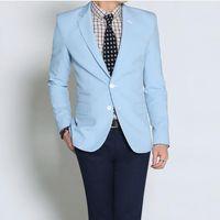 Wholesale Light Blue Leisure Suit - Wholesale- High quality light blue wedding custom men's leisure suit jacket formal occasions best man suit fashion two grain of buttons