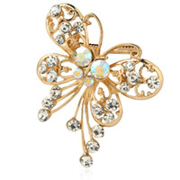 Wholesale fashion butterfly brooch online - New Arrived Fashion Retro Gold Alloy rhinestone brooch Resin Butterfly Shape Female Brooches for women pin up broch jewelry