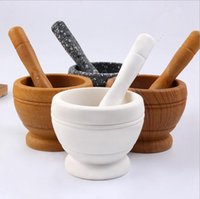 Wholesale Grinders Coffee - Wooden Garlic Ginger Herb Mixing Grinding Spice Crusher Bowl Mortar and Pestle Coffee Spice Mortar Pestl Grinder Mixing Device OOA2591