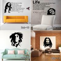 papel de parede livre para paredes venda por atacado-Bob Marley Cita Adesivos de Parede Decalques de Vinil Cita Poster Papel De Parede Adesivos de Parede Decoração de Casa Frete Grátis