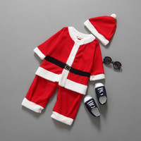 Wholesale Warm Santa Hat - Wholesale- 2016 Christmas Costume Baby Boys Clothes Sets Baby Santa Claus Rompers Long Sleeve +Hat Suits Toddler Baby Clothes Warm Fleece