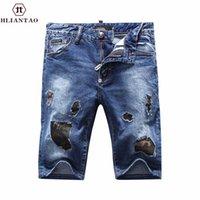 Wholesale Men Skinny Leg Jeans - Wholesale- New Arrival Hliantao Men's Classic Holes Camouflage Short Jeans Straight Leg Slim Casual Denim Shorts Trousers 1851