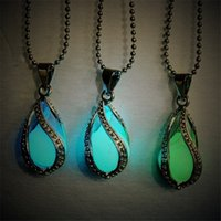 Wholesale Glow Crosses - Fashion Necklaces Pendants Glow In The Dark Locket Silver Hollow Glowing Stone Pendant Luminous Statement Chocker Pendant Necklace For Women