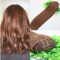 Wholesale Hair Extension Weft Remy Auburn - Clips Human Hair Extension 30# Auburn Brown Straight Brazilian Human Hair 7PCS 120gram 12INCH 20INCH 26INCH