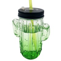 Wholesale Mason Jar New - new style glass cactus mason jar with handle jar colorful glass mason jar with color lids and straws