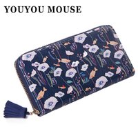 Wholesale Mouse Note Holder - Wholesale- YOUYOU MOUSE Women Flowers Wallet Sweet Fresh 4 Color Purse Women's Tassels Zipper Money Bag Lady Clutch Cion Pocket Card Holder