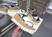 kesim topuklarını toptan satış-Yeni Stella Elyse Cutout Platformu Oxford Platform Ayakkabılar Dantel-Up Kama Deri Kama Topuk Kare Ayak kadın Sandalet Ayakkabı ücretsiz kargo