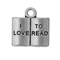 Wholesale vintage book charms - Vintage Best Alloy I Love To Read Stamped Book Shaped Single Side Message Charm For Student's Gift Jewelry