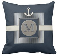 """Wholesale Navy Throws - Throw Pillow Case, Burlap Effect Nautical Ship's Anchor Monogram Square Sofa Cushions Cover, """"16inch,18inch,20inch"""", Pack of X"""