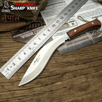 Wholesale Bowie Knives Fixed Blades - FREE SHIPPING New Nepal mini machete Full Tang Survival Kukri Machete Bowie Knife VTH88 Fixed blade knife outdoor camping knife sharp