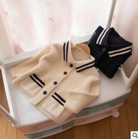 Wholesale Knitted White Baby Cardigan - Baby girls sweater preppy style kids stripe lapel double pocket knitting cardigan toddler single breasted long sleeve knitted coat R0226