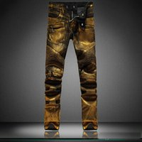 Wholesale Jeans Cheap Price - Golden Waxed Biker Jeans Skinny For Mens Coated Denim Jeans Wholesale Direct From Manufacturer Cheap Price