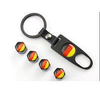 Wholesale Mini Car Wheel Keychain - Car Styling New Hot Sale Car Wheel Tire Valve Caps with Mini Wrench & Keychain logo German flag for AudiA4L A6L Q5 A1 A3 A5 (4-Piece Pack)