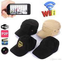 Wholesale Camera Pc Portable - WIFI IP Cap camera 720P HD Wearable mini Camcorder 8GB Hat Spy Camera Hidden cap Portable Mini DV DVR for IOS Android PC