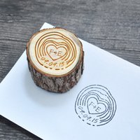 Wholesale Invitation Stamps - Customize Stamp with Initials&date Personalized Wooden Pole Wedding Invitation Stamp Engrave Stamp