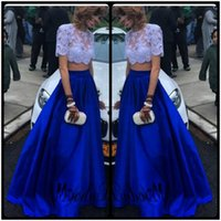 Wholesale Junior Long Sleeve Cocktail Dresses - Vintage Top White Lace Two Pieces Prom Dresses 2017 Junior Royal Blue Skirts Long Homecoming Gowns For Girls Cocktail Gown Plus Size