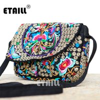 Atacado- Hot Ethnic Hmong Boho Indian Embroidered Small Shoulder Bag Handmade Fabric Embroidery Crossbody Bags Luxury Brand Messenger Bag