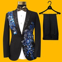 Wholesale Sequin Tuxedo Jacket Men - Wholesale- 2017 Men Wedding Suits Fashion Casual Sequins Floral Embroidered Groom Suit Blazer Male Formal Two-piece Tuxedo Suit Jacket Set