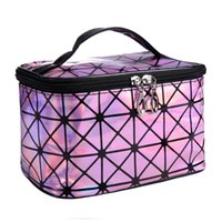 Moda Cosmetic Bag Mulheres Zipper Handbag Diamond Pattern Mulheres Ladies Laptop Cosmetic Bag Flash Diamond Leather Makeup Bag