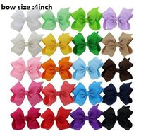 "Wholesale Classic Baby Hair Clips - 8 style available ! 50 Pieces 4"" Solid Hair Bow With Clip For Baby,Boutique Ribbon Hair Bow For Kids,Classic Baby Hair Bowknot 118 Colors"
