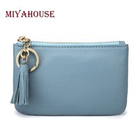 Wholesale Wholesale Girls Change Purse - Wholesale- Miyahouse Genuine Leather Women Mini Wallets With Key Ring High Quality Female Tassel Pendant Money Wallet Girls Change Purse