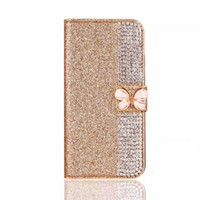 ingrosso caso del portafoglio di iphone di apple-Per iPhone 8 Plus X 7 6S 5S TPU in pelle Bling Bling colorato arco portafoglio Custodia sacchetto di lusso morbido rosa copertura Opp Bag