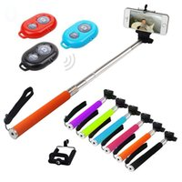 Wholesale Clip Timer Wholesale - Z07-01 Blister kits 3 in 1 Monopod Bluetooth Self-timer Shutter + Camera Extendable Tripod+Clip for iPhone 5S 5 4S r Galaxy S4 Note3